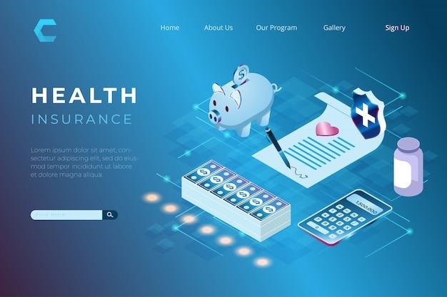 Ilustracja Mężczyzna Podpisuje Umowa Ubezpieczenia Zdrowotnego W Isometric 3d Stylu Premium Wektorów