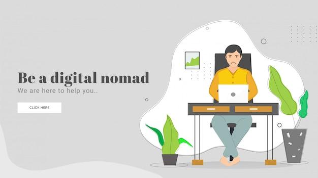 Ilustracja mężczyzna pracuje w laptopie na miejscu pracy dla być cyfrowym koczownika strony docelowej projektem. Premium Wektorów