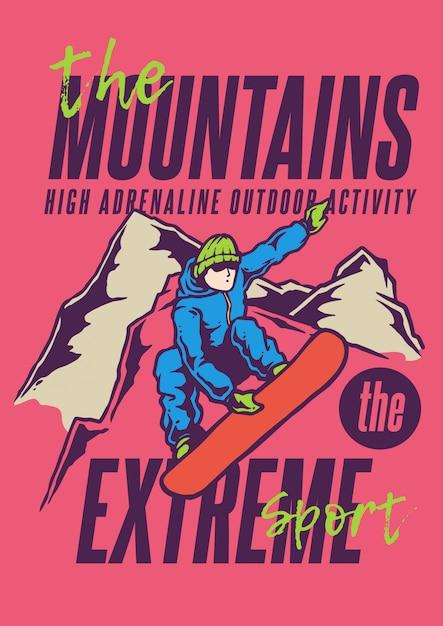 Ilustracja Mężczyzny Skok Na Nartach Wysoko W Górach W Sezonie Zimowym W Klasycznych Kolorach Premium Wektorów