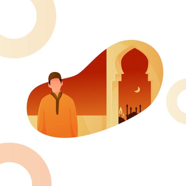 Ilustracja mężczyzny w ramadanie Premium Wektorów