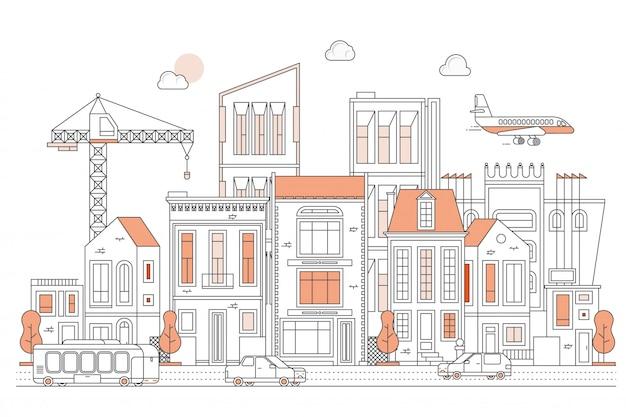 Ilustracja miastowa krajobrazowa ulica z samochodami Premium Wektorów