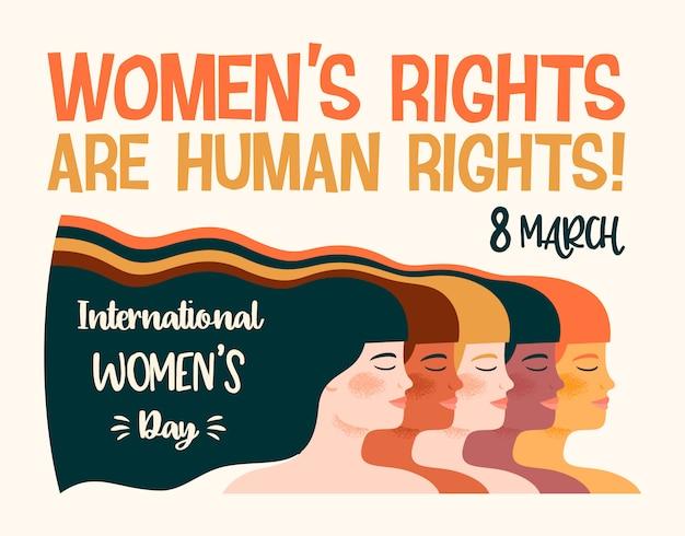Ilustracja Międzynarodowy Dzień Kobiet Premium Wektorów