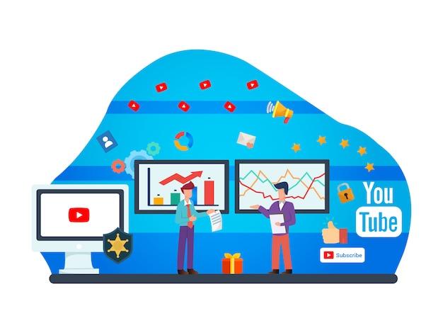 Ilustracja mieszkania youtuber Premium Wektorów