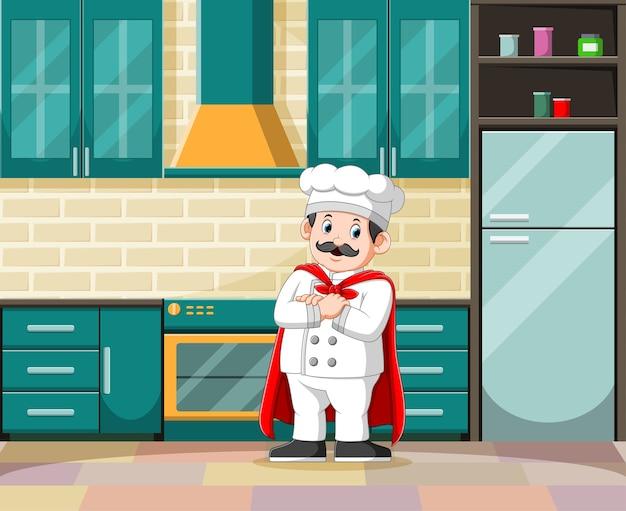 Ilustracja Mistrza Gotowania W Swoim Białym Stroju W Kuchni Premium Wektorów