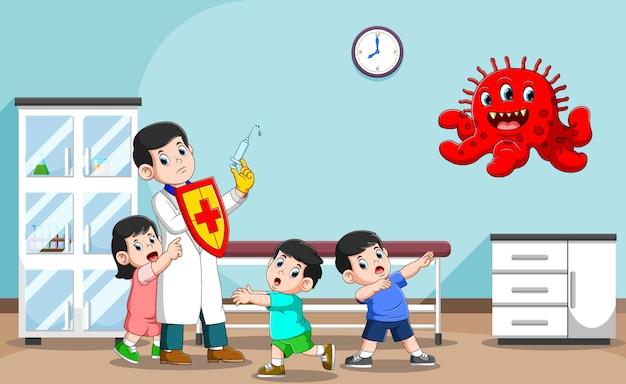 Ilustracja Mistrza Lekarza Dla Zdrowia Dzieci W Szpitalu Premium Wektorów