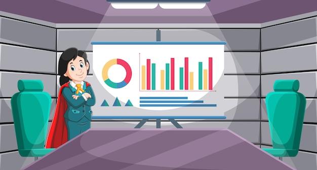 Ilustracja Mistrza Menedżera W Biznesie W Sali Konferencyjnej Premium Wektorów