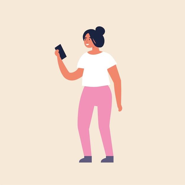 Ilustracja Młoda Dziewczyna Stojąc I Za Pomocą Urządzenia Mobilnego. Premium Wektorów