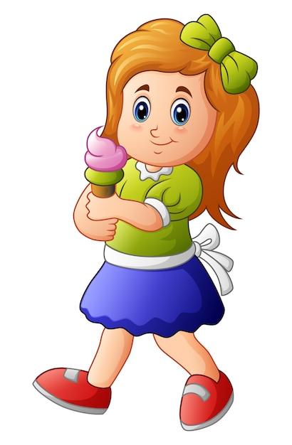 Ilustracja Młoda Dziewczyna Trzyma Lody Premium Wektorów