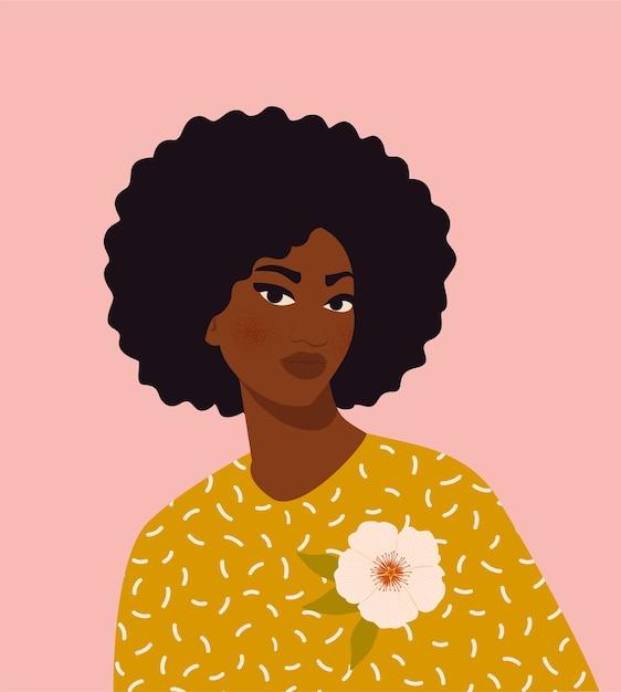 Ilustracja Młoda Kobieta Afro-amerykańska Premium Wektorów
