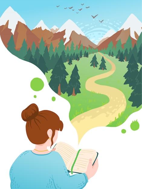 Ilustracja Młoda Kobieta, Czytanie Książki, Marzy. Miłośnik Literatury Motywacyjnej. Premium Wektorów