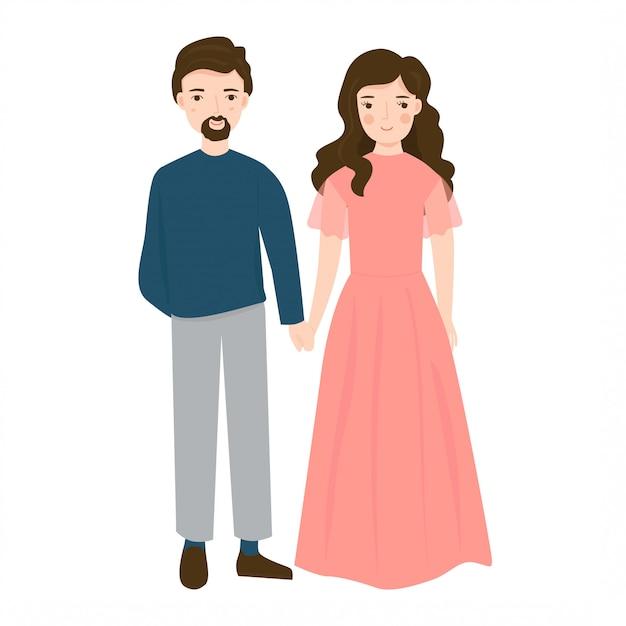 Ilustracja Młoda Para Na ślub Premium Wektorów