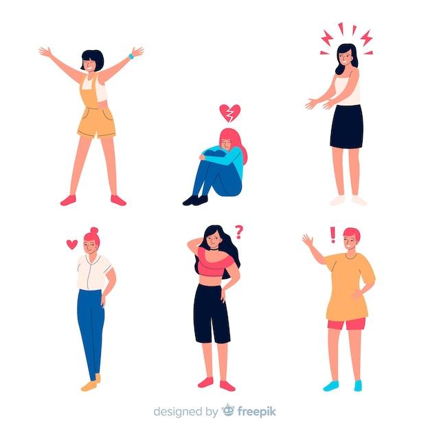 Ilustracja młodych ludzi emocji Darmowych Wektorów