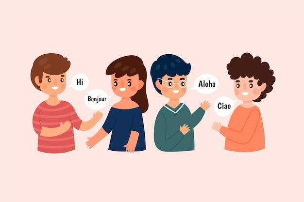 Ilustracja młodych ludzi rozmawia w różnych językach zestaw Darmowych Wektorów