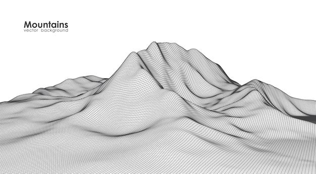 Ilustracja: Model Szkieletowy Gór Krajobraz Na Białym Tle. Premium Wektorów