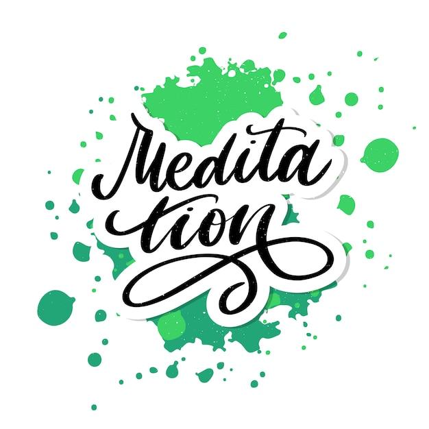 Ilustracją Mojej Terapii Jest Medytacja. Plakat Z Napisami Do Studia Jogi I Lekcji Medytacji. Zabawne Litery Na Powitanie I Zaproszenie, Nadruk Na Koszulce. Premium Wektorów