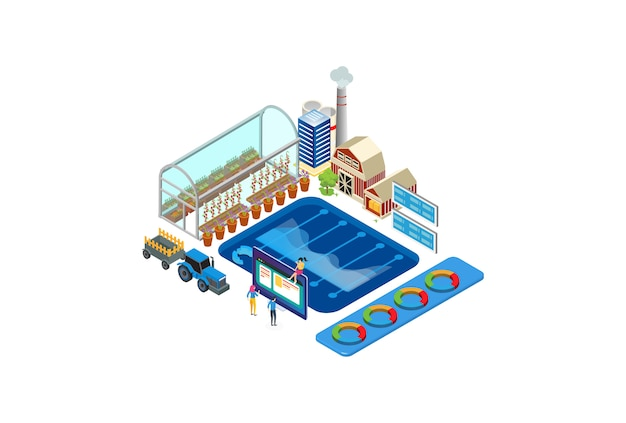 Ilustracja Monitoringu Nowoczesnej Technologii Rolnictwa Izometrycznego Premium Wektorów