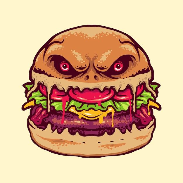 Ilustracja Monster Burger Premium Wektorów