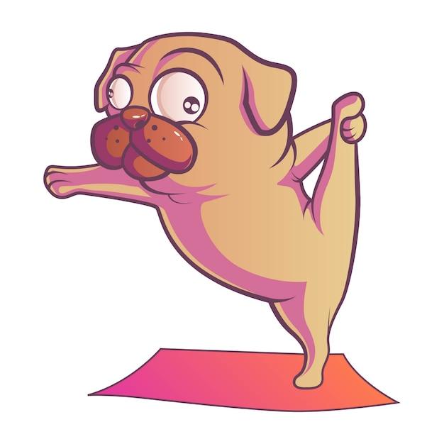 Ilustracja mopsa pies. Premium Wektorów