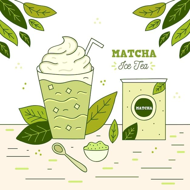 Ilustracja Mrożonej Herbaty Matcha Darmowych Wektorów