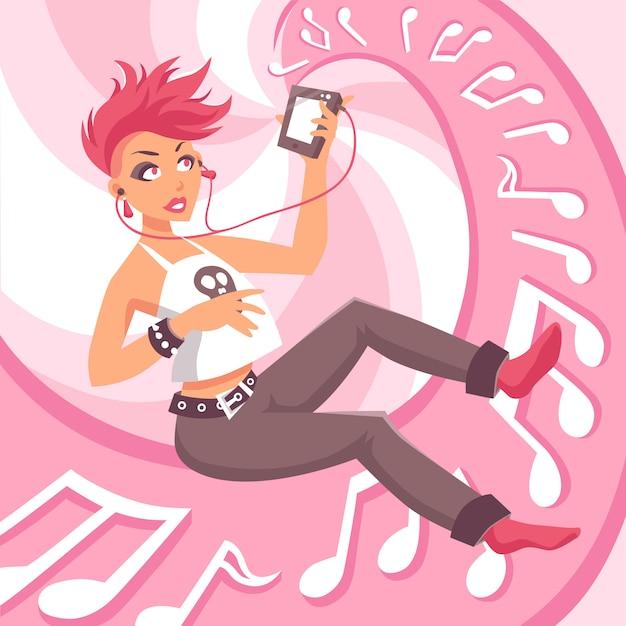 Ilustracja music girl Darmowych Wektorów