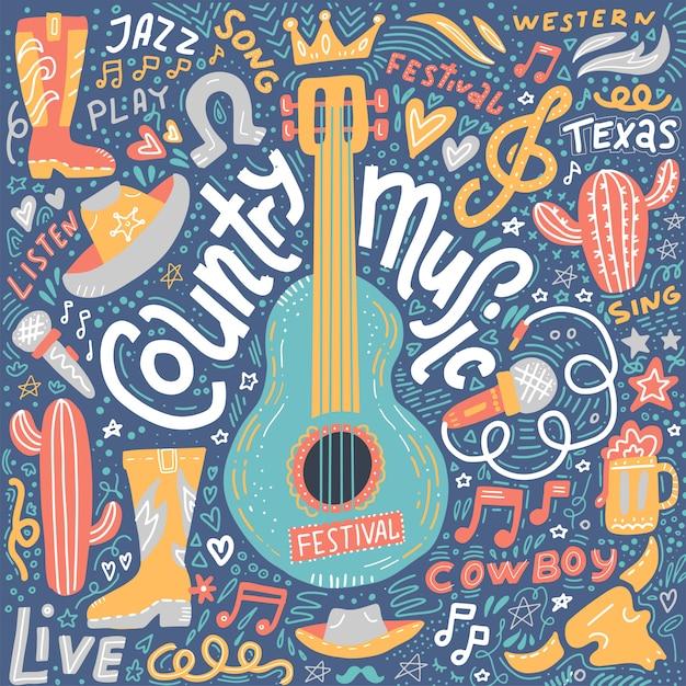 Ilustracja muzyki country na pocztówki lub banery festiwalowe Premium Wektorów