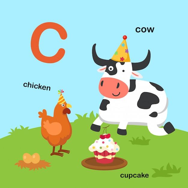 Ilustracja Na Białym Tle Litera Alfabetu C Premium Wektorów