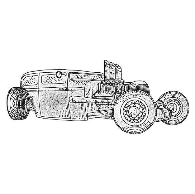 Ilustracja Na Białym Tle Niestandardowego Hot Rod. Darmowych Wektorów
