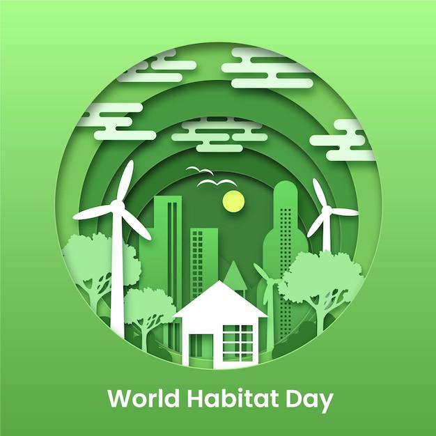 Ilustracja Na światowy Dzień Siedlisk W Stylu Papieru Premium Wektorów