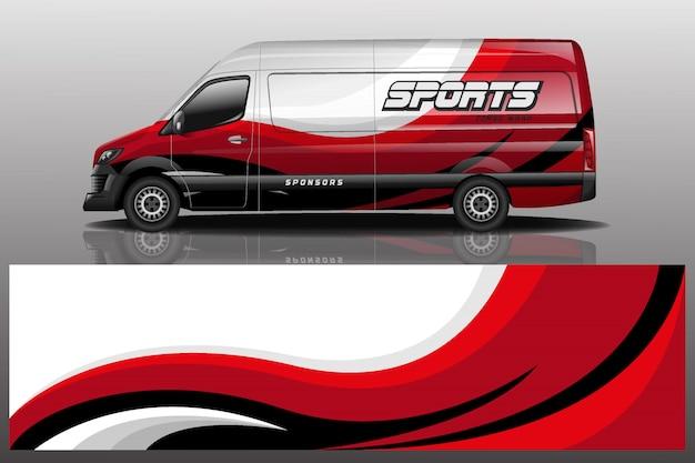 Ilustracja Naklejek Samochodów Dostawczych Van Premium Wektorów