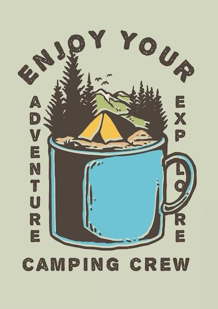 Ilustracja namiot obozu na szczycie metalowego kubka z górskich i pięknych krajobrazów krajobrazowych i sosny w retro ilustracji wektorowych 80-tych Premium Wektorów