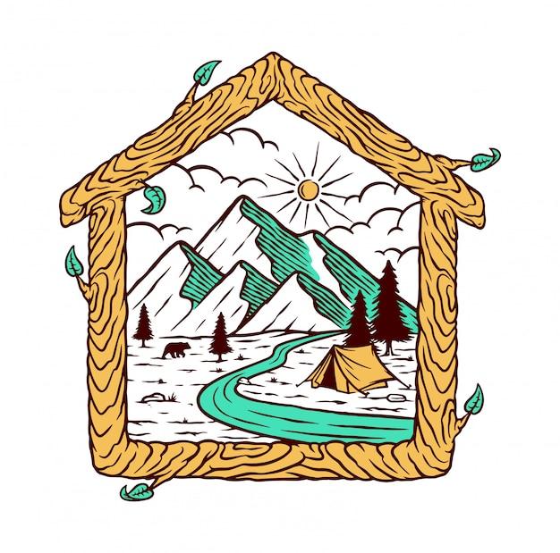 Ilustracja Naturalny Dom Premium Wektorów
