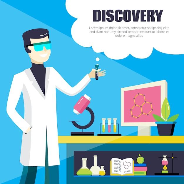 Ilustracja naukowiec i odkrycie laboratorium Darmowych Wektorów