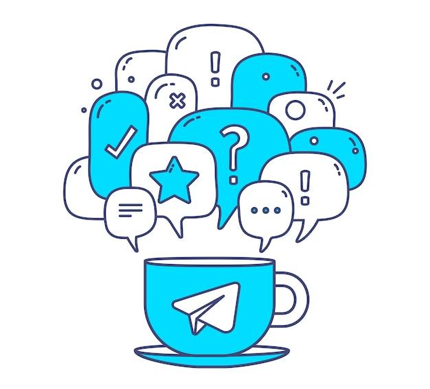 Ilustracja Niebieski Kolor Dymki Dialogowe Z Ikonami I Filiżanką Kawy Na Białym Tle. Technologia Komunikacyjna Premium Wektorów