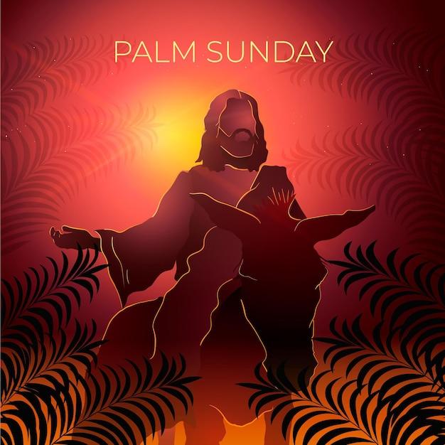 Ilustracja Niedziela Gradientu Palmowego Darmowych Wektorów