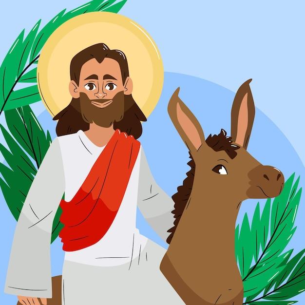 Ilustracja Niedziela Palmowa Rysowane Ręcznie Darmowych Wektorów