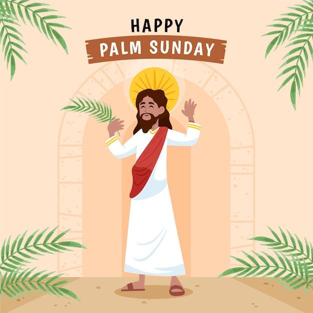 Ilustracja Niedziela Palmowa Rysowane Ręcznie Premium Wektorów