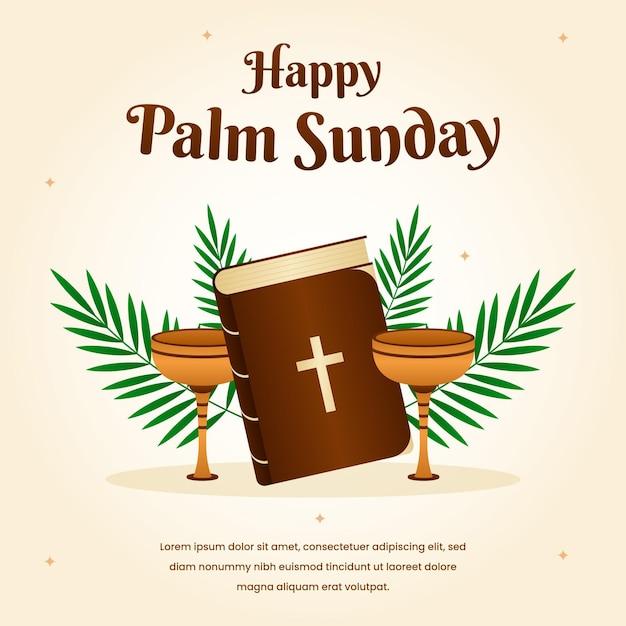 Ilustracja Niedziela Płaska Palmowa Premium Wektorów