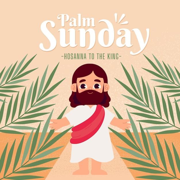 Ilustracja Niedziela Płaska Palmowa Darmowych Wektorów
