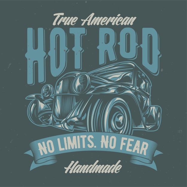 Ilustracja Niestandardowego Hot Rod. Ręcznie Rysowane Ilustracji. Darmowych Wektorów