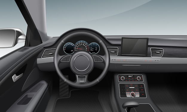 Ilustracja Nowoczesnego Wnętrza Samochodu Z Ciemnym Deską Rozdzielczą I Kołem Wewnątrz Salonu Premium Wektorów
