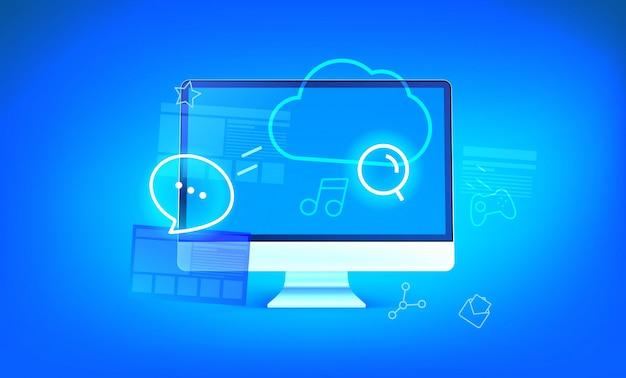 Ilustracja nowoczesnej technologii chmury. nowoczesny komputer z błyszczącymi ikonami i chmurą Premium Wektorów