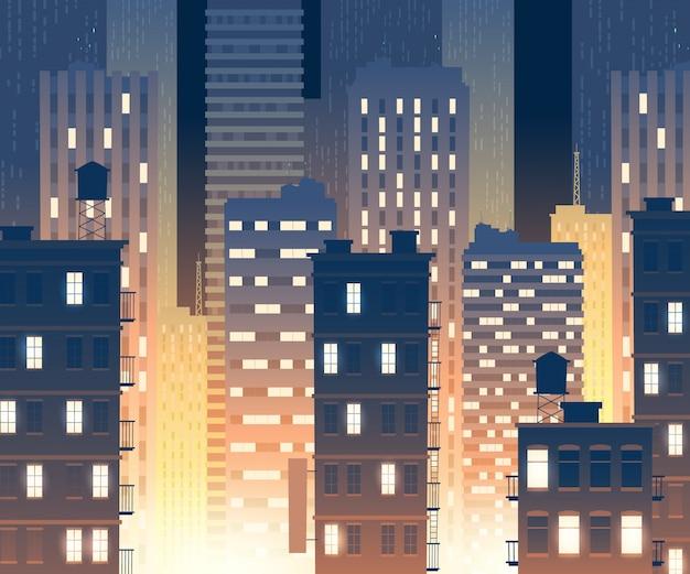 Ilustracja nowoczesnych budynków w nocy. tło z miejskich dużych budynków Darmowych Wektorów