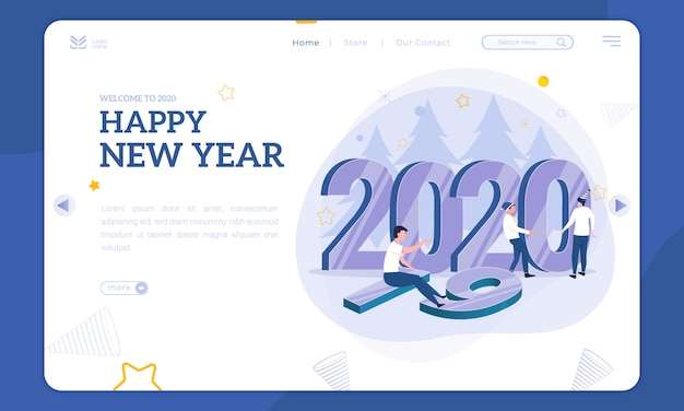 Ilustracja noworoczna na stronie docelowej, wstaw liczbę 2020, aby zastąpić 2019 Premium Wektorów