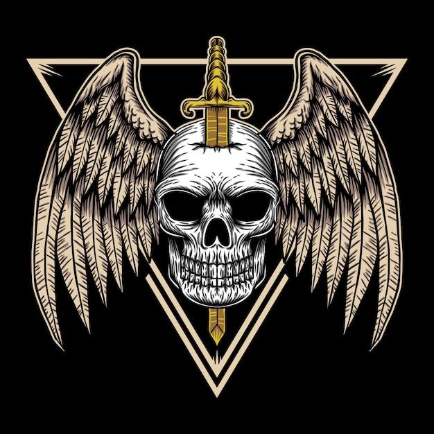 Ilustracja Odznaka Skrzydła Czaszki Premium Wektorów