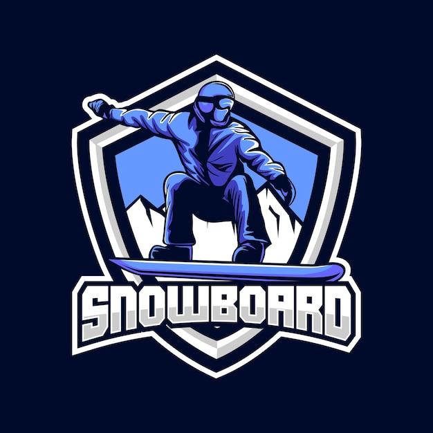 Ilustracja Odznaka Snowboardowa W Płaskiej Konstrukcji Premium Wektorów