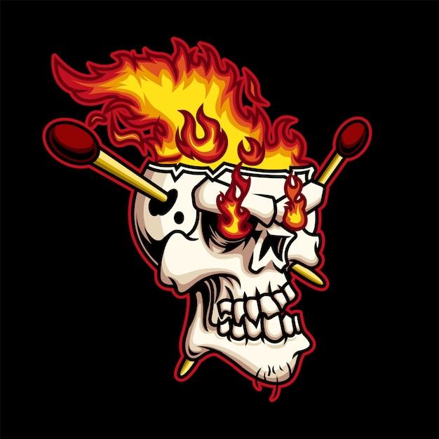 Ilustracja Ognia Czaszki Głowy Premium Wektorów