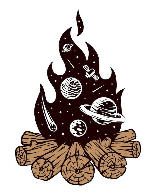 Ilustracja Ogniska Wszechświata Premium Wektorów