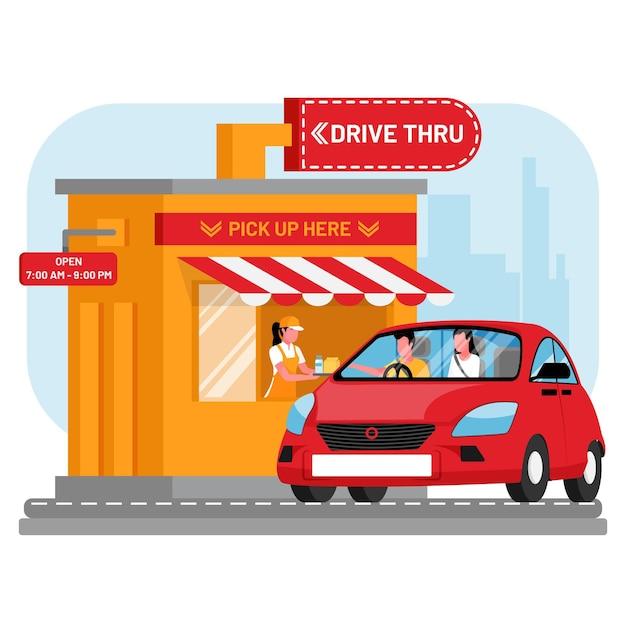 Ilustracja Okna Drive Thru Darmowych Wektorów