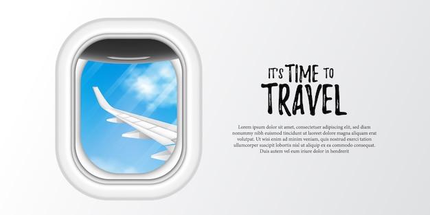 Ilustracja Okna Samolotu Iluminator Z Błękitne Niebo I Widok Skrzydła Samolotu. Premium Wektorów