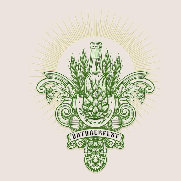 Ilustracja oktoberfest, vintage grawerowanie logo z retro ornamentem w dekoracyjnym stylu antycznego rokoko Premium Wektorów